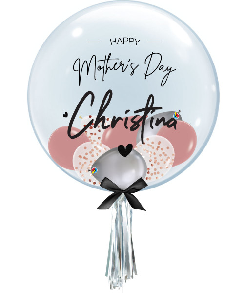 [Dear Mom] Personalised Name Happy Mother's Day Crystal Clear Balloon - Mini Confetti, Chrome & Fashion Latex Balloons Filled
