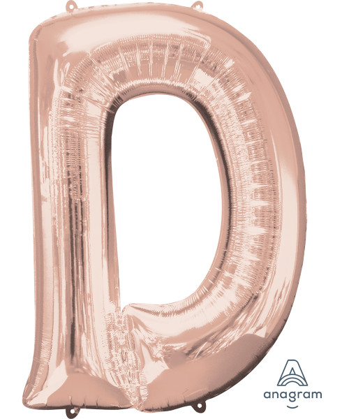 "34"" Giant Alphabet Foil Balloon (Rose Gold) - Letter 'D'"