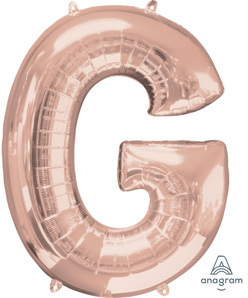 "34"" Giant Alphabet Foil Balloon (Rose Gold) - Letter 'G'"