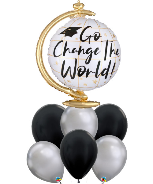 [Graduation] Go Change the World Globe Chrome Silver Balloons Bouquet