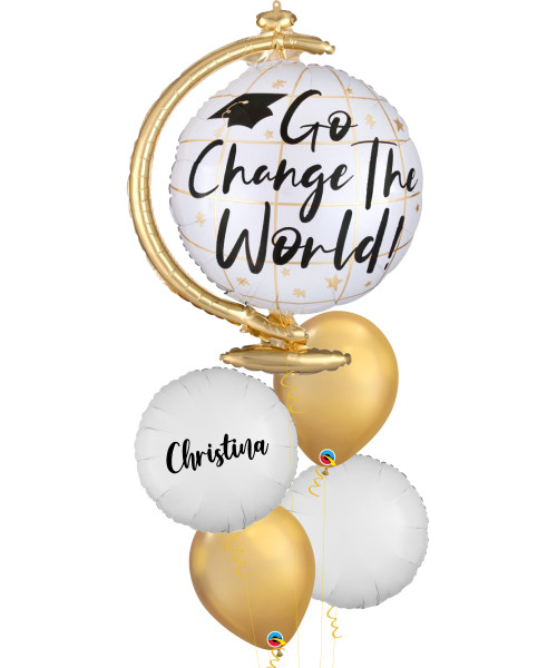 [Graduation] Go Change the World Globe Personalised Name Balloons Bouquet