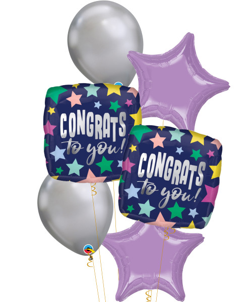 [Graduation] Congrats Stars on Navy Foil Chrome Silver Balloons Bouquet