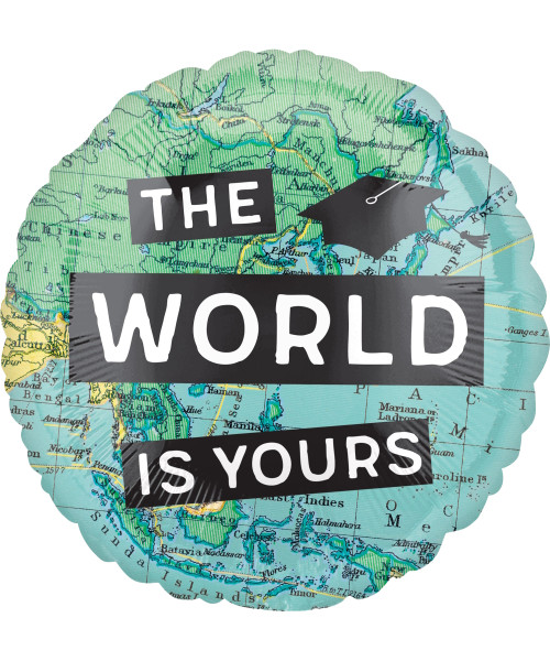 [Graduation] Congrats Grad The World Is Yours Foil Balloon (17inch) - Front Design