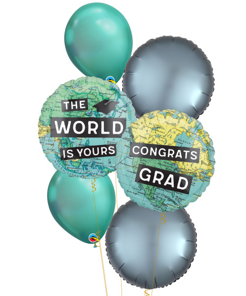 [Graduation] Congrats Grad The World Is Yours Chrome Green Balloons Bouquet