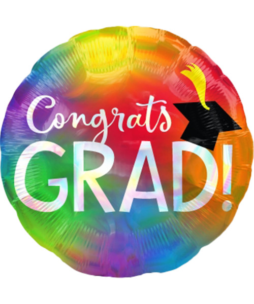 [Graduation] Rainbow Iridescent Congrats Grad Foil Balloon (18inch)