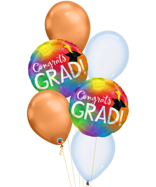 [Graduation] Rainbow Iridescent Congrats Grad Chrome Copper Balloons Bouquet