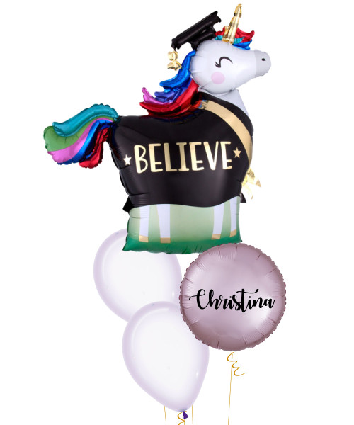 [Graduation] Rainbow Grad Unicorn Personalised Name Balloons Bouquet
