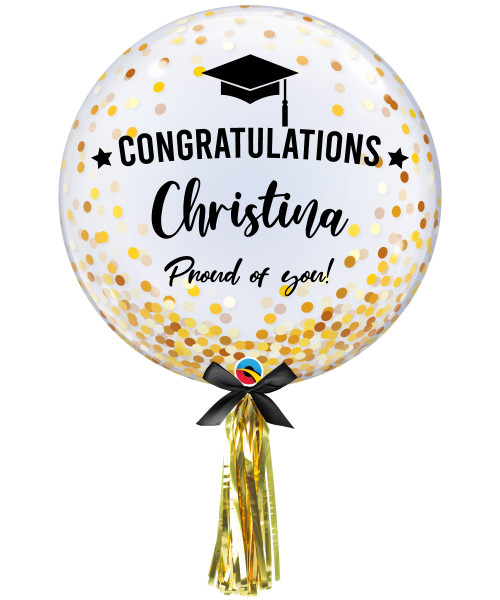 "[Graduation] 24"" Personalised Name Congratulations Proud of you! Crystal Clear Transparent Confetti Dots Printed Balloon - Gold Confetti Dots"