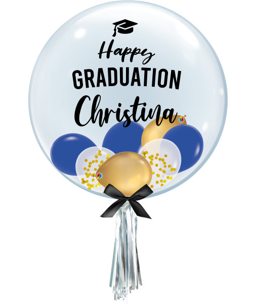 "[Graduation] 24"" Personalised Name Happy Graduation Crystal Clear Balloon - Mini Confetti, Chrome & Fashion Latex Balloons Filled"