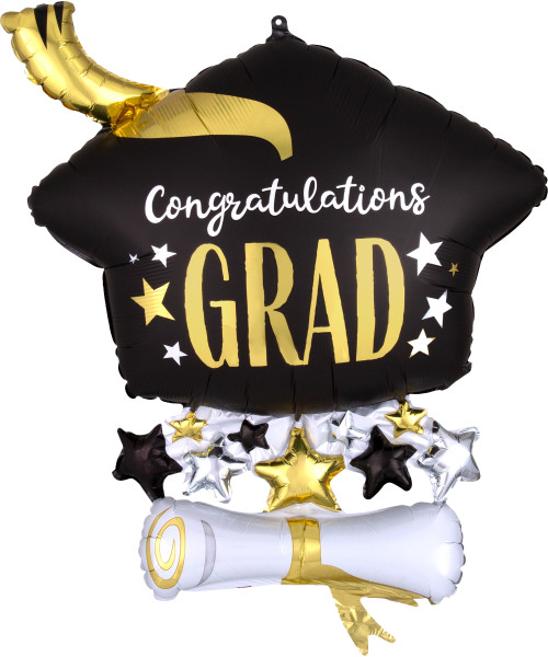 [Graduation] Congratulations Grad Satin Infused Cap & Diploma Foil Balloon (25inch)