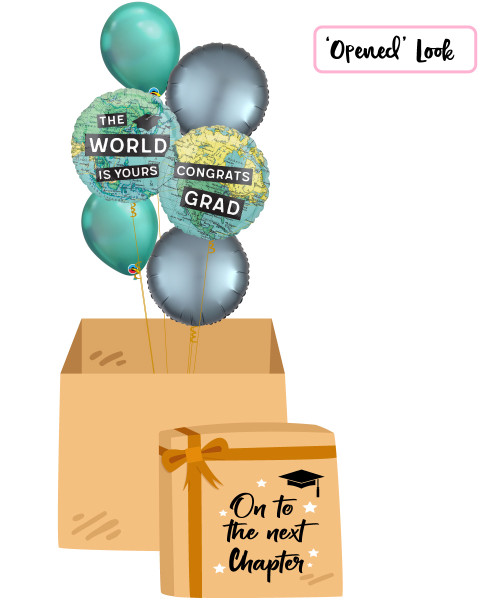 [On To The Next Chapter Balloon Surprise Box] Congrats Grad The World Is Yours Chrome Green Balloons Bouquet