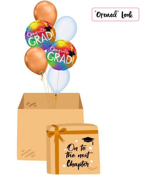 [On To The Next Chapter Balloon Surprise Box] Rainbow Iridescent Congrats Grad Chrome Copper Balloons Bouquet