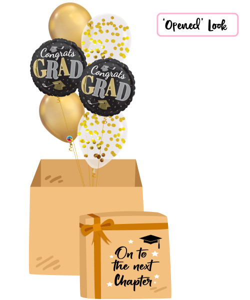 [On To The Next Chapter Balloon Surprise Box] Congrats Grad Well Done Gold Confetti Balloons Bouquet
