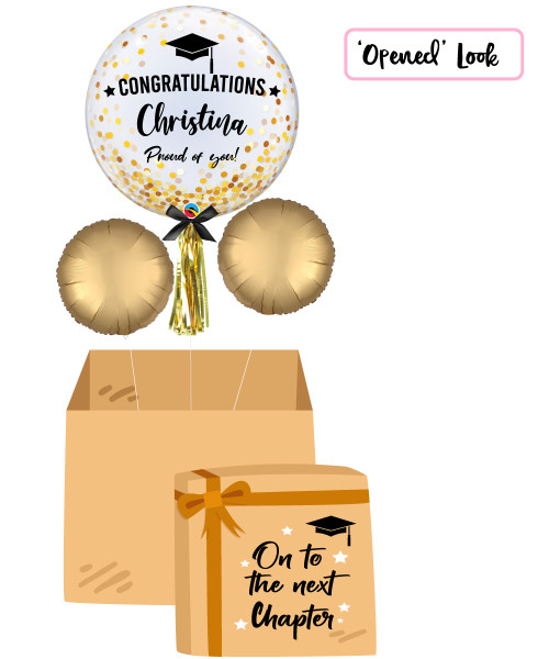 "[On To The Next Chapter Balloon Surprise Box] 24"" Personalised Name Congratulations Proud of you! Crystal Clear Transparent Confetti Dots Printed Balloon - Gold Confetti Dots"
