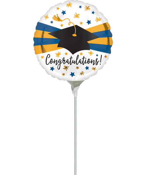 [Graduation Balloon on Stick] Blue & Gold Congratulations Grad Hat (9inch)