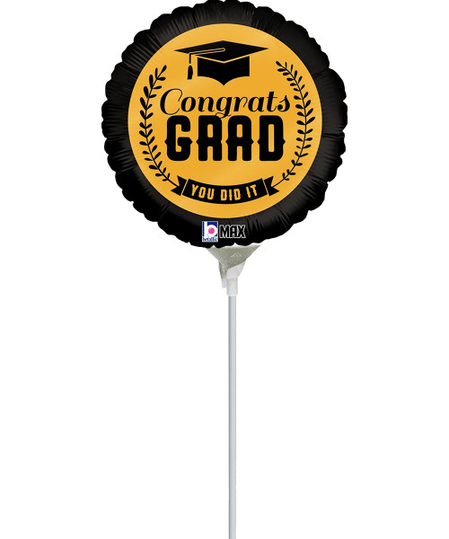 [Graduation Balloon on Stick] Black & Gold Congrats Grad (9inch)