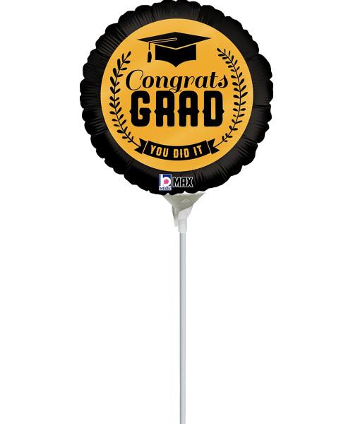 [Graduation Balloon on Stick] Black & Gold Congrats Grad (9inch)