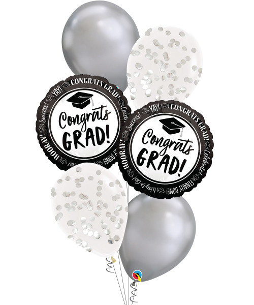 [Graduation]Celebrate Success Congrats Grad Chrome Silver Balloons Bouquet