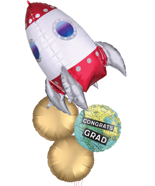 [Graduation] Rocket Ship Congrats Grad The World Is Yours Balloons Bouquet