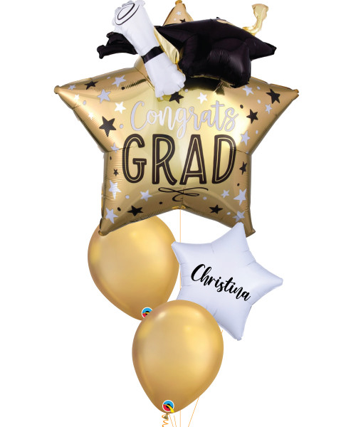 [Graduation] Grad Star, Cap & Diploma Star Shaped Personalised Name Balloons Bouquet
