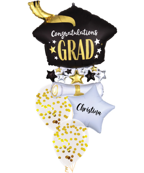 [Graduation] Congratulations Grad Satin Infused Cap & Diploma Personalised Name Balloons Bouquet