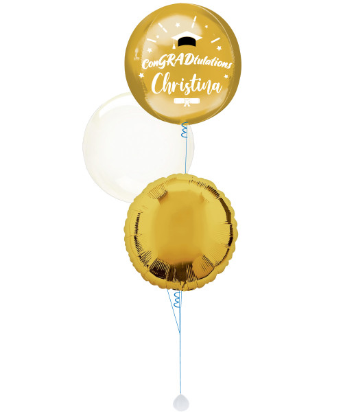 [Graduation] ConGRADtulations Personalised Name Metallic Gold Orbz Balloons Bouquet