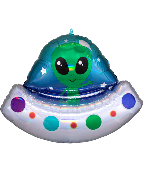[Astronaut/Space] Iridescent Alien Space Ship Foil Balloon (28inch)