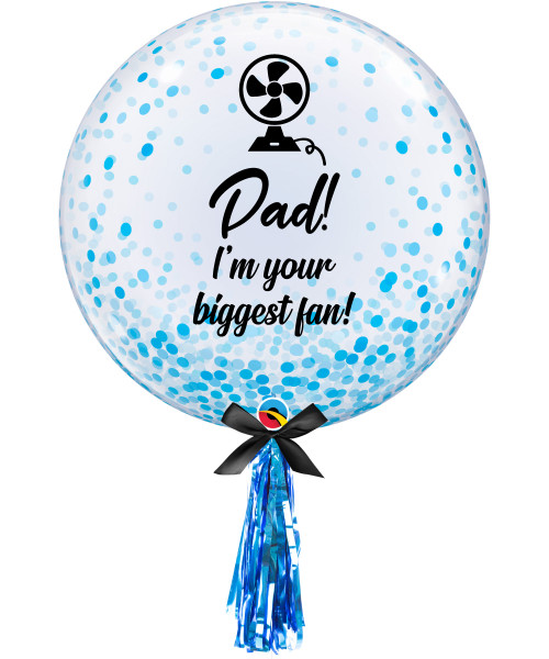 "[To My SUPERDAD] 24"" Dad! I'm your biggest fan! Crystal Clear Transparent Confetti Dots Printed Balloon - Blue Confetti Dots"