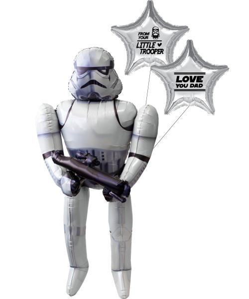 [To My SUPERDAD] Love You Dad! From Your Little Trooper. Jumbo Stormtrooper Airwalker Balloon Set