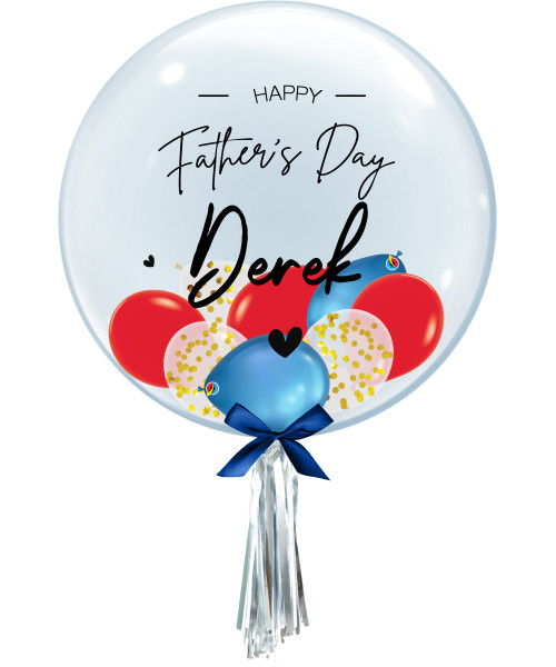 [To My SUPERDAD] Personalised Name Happy Father's Day Crystal Clear Balloon - Mini Confetti, Chrome & Fashion Latex Balloons Filled
