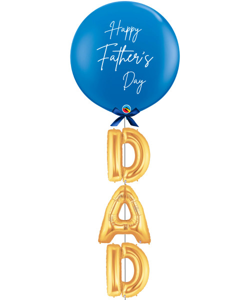 "[To My SUPERDAD] Happy Father's Day Jumbo Perfectly Round Latex Balloon styled with 16"" Letter Foil Balloons (DAD)"
