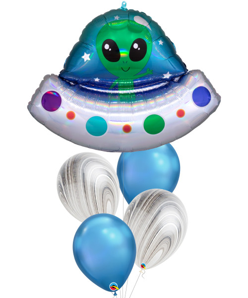 [Astronaut/Space] Iridescent Alien Space Ship Chrome Blue Balloons Bouquet