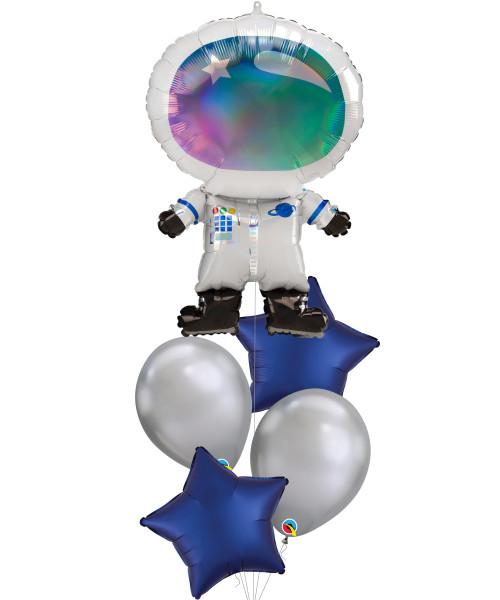 [Astronaut/Space] Iridescent Astronaut Satin Luxe Navy Star Balloons Bouquet