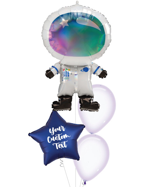 [Astronaut/Space] Iridescent Astronaut Personalised Satin Luxe Navy Star Balloons Bouquet