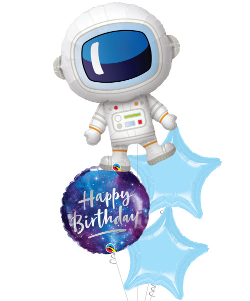 [Astronaut/Space] Adorable Astronaut Happy Birthday Galaxy Balloons Bouquet