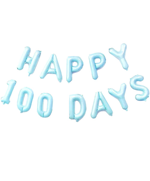 """[Happy 100 Days Pack] 16"""" Happy 100 Days Alphabet /Number Foil Balloons Banner - Pastel Blue"""
