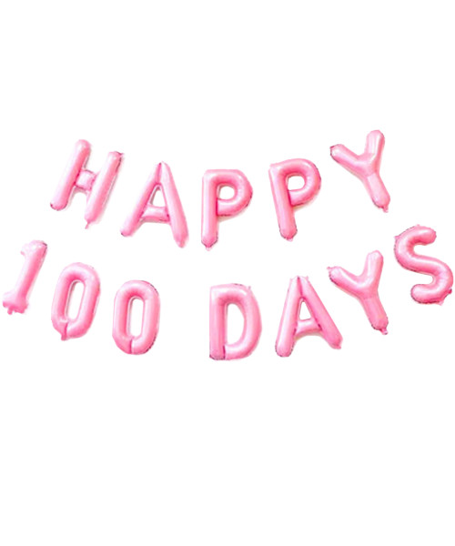 """[Happy 100 Days Pack] 16"""" Happy 100 Days Alphabet /Number Foil Balloons Banner - Pastel Pink"""