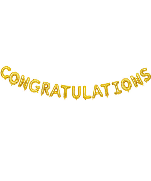 """[Congratulations Pack] 16"""" Congratulations Alphabet Foil Balloons Banner - Gold"""