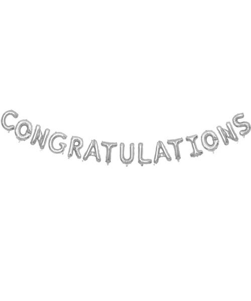 "[Congratulations Pack] 16"" Congratulations  Alphabet Foil Balloons Banner - Silver"