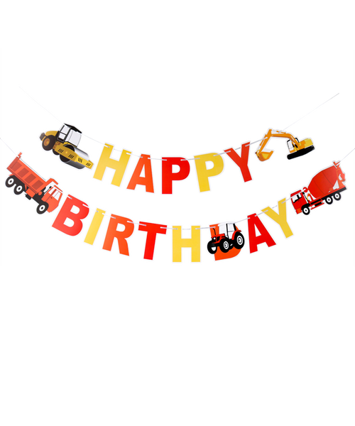 Happy Birthday Letter Bunting (3meter) - Construction Themed ( Bulldozer,Dump Truck, Excavator and Concrete Mixer)