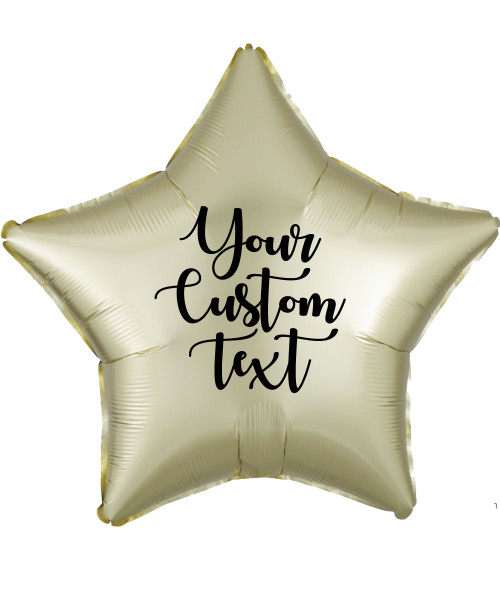 "19"" Personalised Star Foil Balloon - Satin Luxe Pastel Yellow"