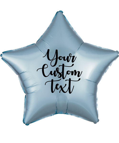 "19"" Personalised Star Foil Balloon - Satin Luxe Pastel Blue"