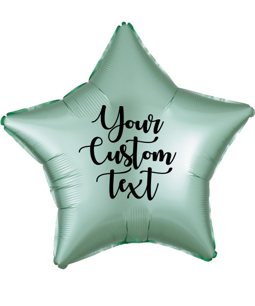 "19"" Personalised Star Foil Balloon - Satin Luxe Mint Green"
