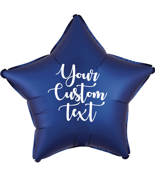 "19"" Personalised Star Foil Balloon - Satin Luxe Navy"