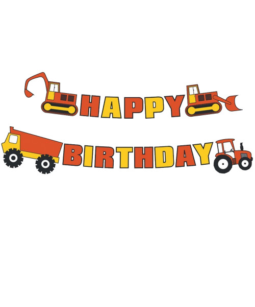Happy Birthday Letter Bunting (3meter) - Construction Themed ( Excavator, Dump Truck, Bulldozer, Tractor)