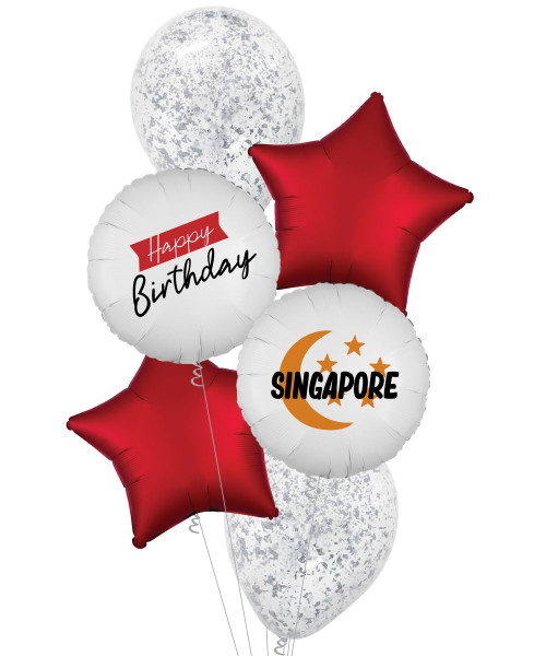 [National Day 2020] Happy Birthday Singapore Metallic Confetti Balloons Bouquet