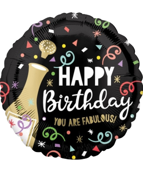 [Beverage] Happy Birthday Gold Bubbly Foil Balloon (17inch)