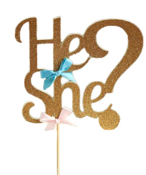 He?She? Gender Reveal Gold Glitter Cake Topper
