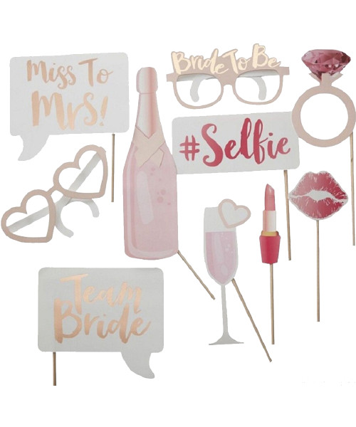 (310 gsm Art Card cut-out) Rose Gold Miss to Mrs Photobooth Props (10-Designs, Ready Made)