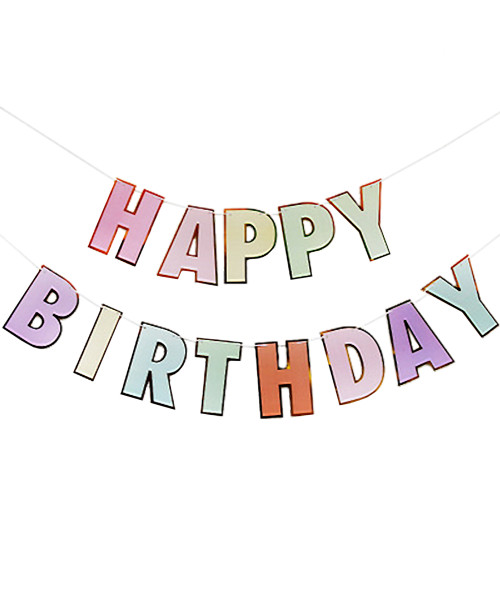 Happy Birthday Letter Bunting (3meter) - Pastel Rainbow Themed